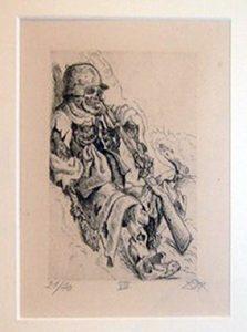Otto Diks. Dead Sapper at his post,  1924 etching opus VI