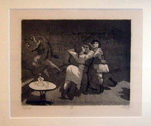 Otto Diks. Sailors in Antwerp, 1924 etching opus VI