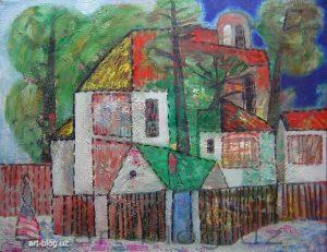 Landscape with figure at fence. 2003. Seiran Kurtdzhemil