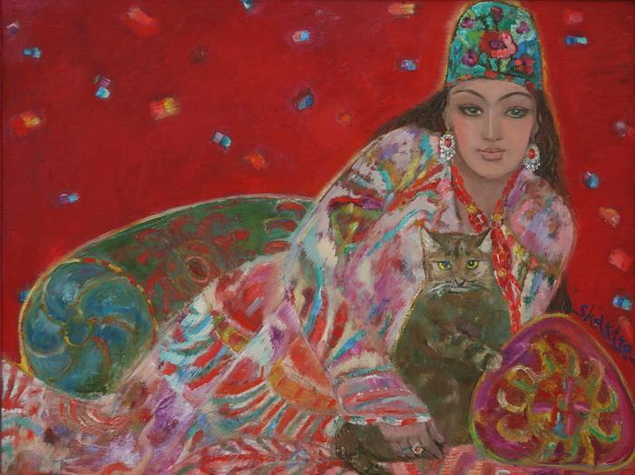 The-lady-with-a-cat.-Farangiz-46х605-c.o._-2010
