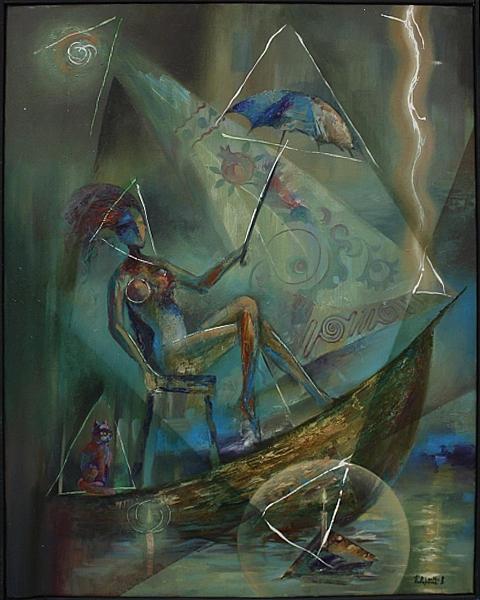 Поваринис Валерий. Девушка с зонтиком. 2014 (Самарканд)