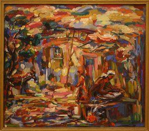 Базарбай Серекеев. Дворик с ослом. 1991