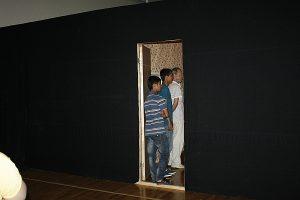 Ж.Усманов. Притча. Инсталяция с двумя комнатами. Вход на выставку -1.