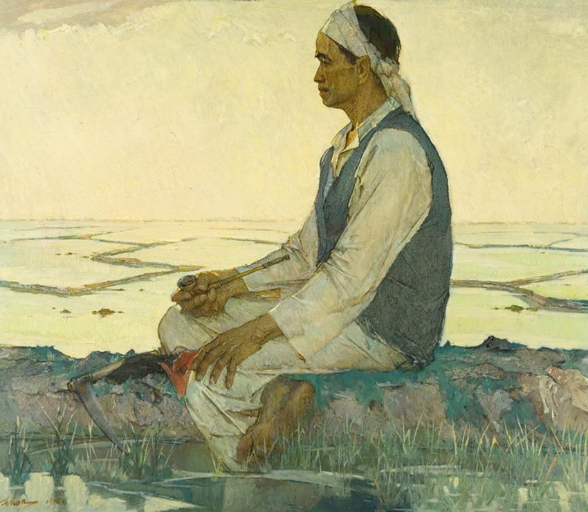 Пак Н. «На рисовом поле» х.м., 120х140 см., 1978г.