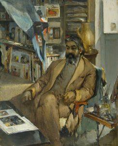 Пак Н. «Портрет художника Чарыева» 167х154 см., х.м., 1985г.