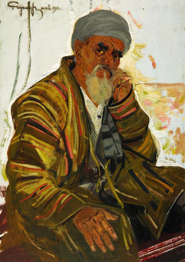 Чарыев Р. «Портрет бахши» х.м., 111х70 см.