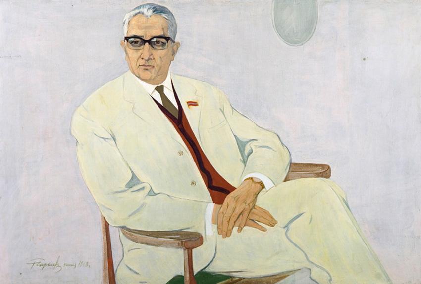 Чарыев Р. «Портрет академика Ходжаева» х.м., 98х145 см., 1968г.