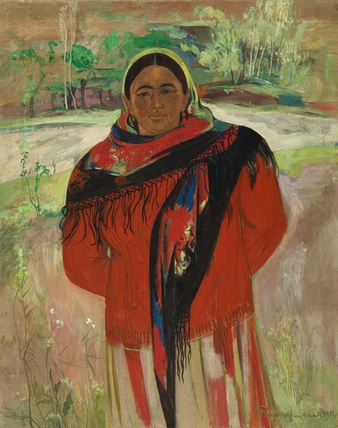 Чарыев Р. «Женщина из Байсуна» х.м., 87х73 см., 1981г.