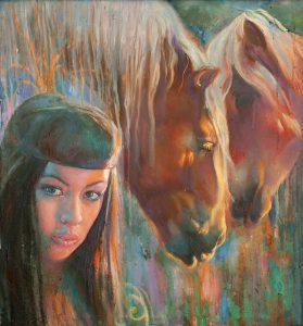 Шувалова Маргарита  «Девушка с лошадьми»  54х58 2013 хм