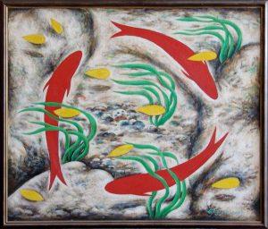 Г.Кадиров. Красные рыбы родника.79,5х95 см.х,м.2003г