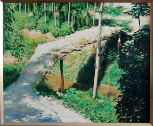 Г.Кадиров. Мостик через желтую речку.89,5х109,5 см.х,м.2003г