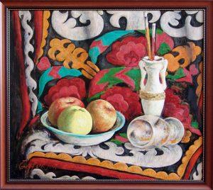 Г.Кадиров. Натюрморт с яблоками.90х100х.м.2011г.