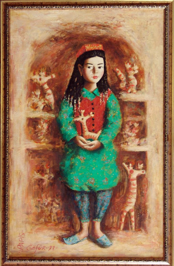 Г.Кадиров. Девочка с игрушками.92х57,5 см.х.м.1991г