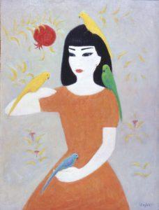 Девочка с попугаями х.м. 79,5х59,5 2005 г..