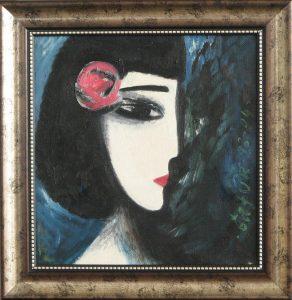 Девочка с цветком.х,м.59,5х54 см.2012 год