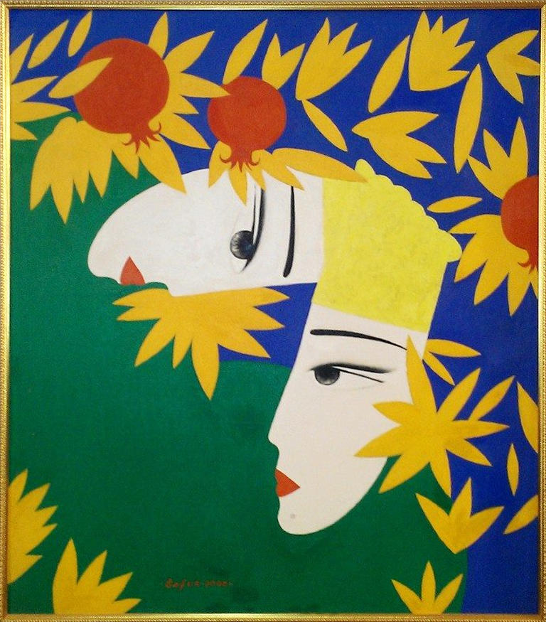 Г.Кадыров. Влюбленные в саду. х,м. 80х90см. 2002 год