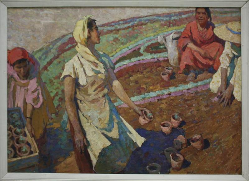 Ковин В. У цветочной клумбы. 1961 (ДХВ)