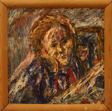 Жоллыбай Изентаев. Девочка на голубом поле. 1989
