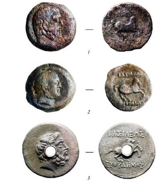 Монеты эллинистической крепости Узундара, расположенной в 110 км к северо-западу от Термеза. Евтидем I (ок. 230–200 гг. до Р. Х.) Фото Г.А. Когодина.