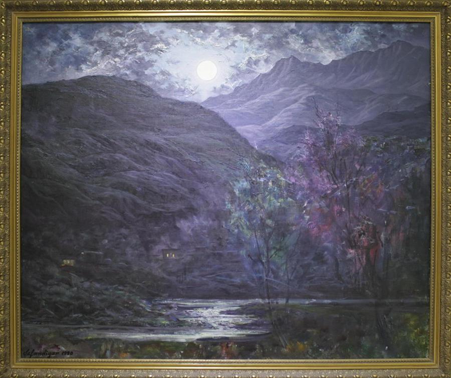 Исфандиёр Хайдаров.  Лунная ночь в Бахмале. 1990