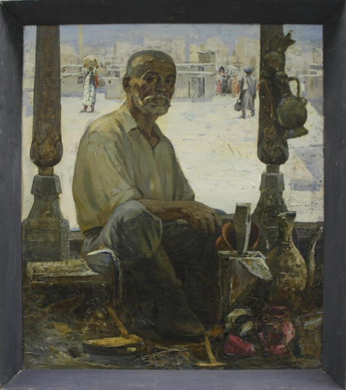 Портрет чеканщика Матчанова. Р. Гаглоева. 1978