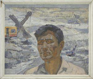 Портрет строителя Туямуинского гидроузла Клычева. Р. Гаглоева. 1973