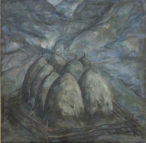 Стога в лунную ночь. Р.Гаглоева. 1981