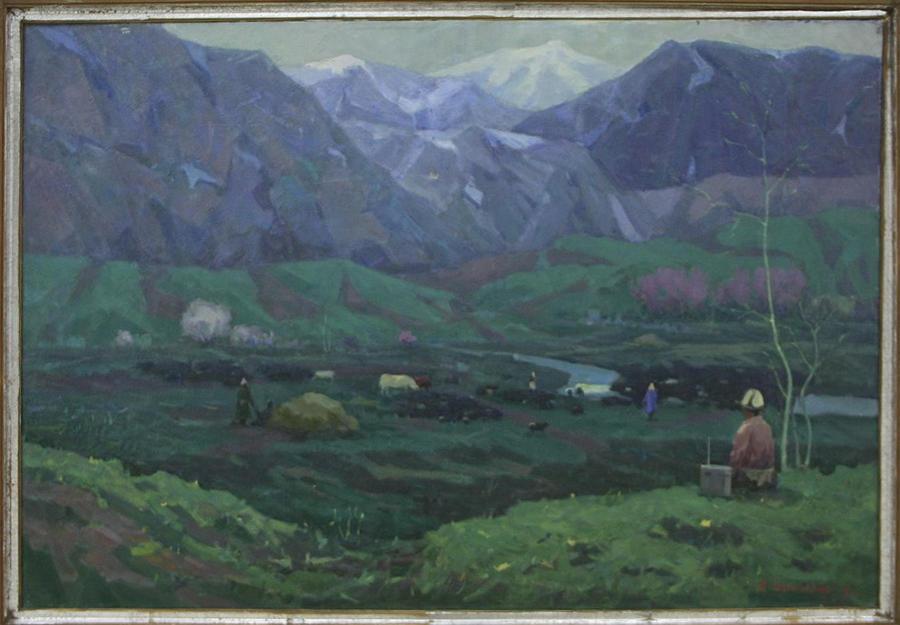Тимуров Р. Утро в горах Нур-ата. 1971 (ДХВ)
