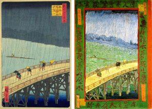 Hiroshige_Van_Gogh_2 Хиросигэ «Вечерний дождь в Атаке на Великом мосту»,