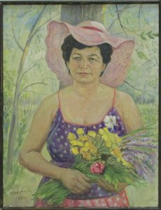 Набиев М. Портрет женщины с цветами. 1984 (ДХВ)