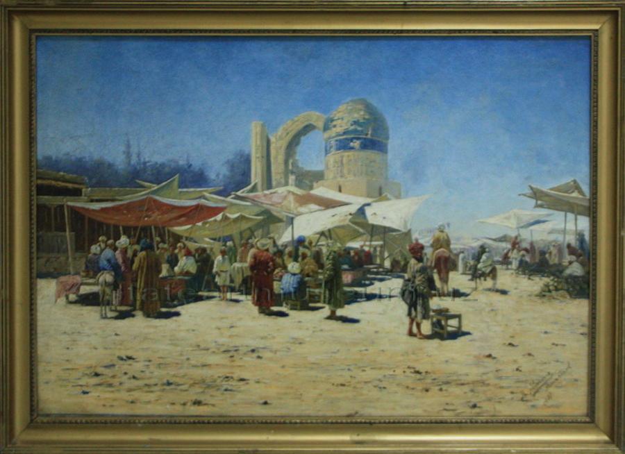 Zommer R.K. (1866 - 1939) Базар в Самарканде.