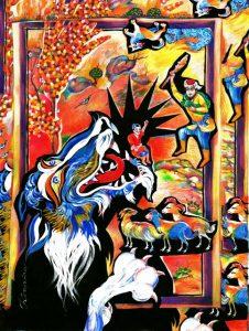 Иллюстрация к сказке Насимова НАХОТ ПАЛВАН . Бумага, смеш.техника. 2016