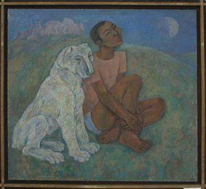 Стрельников Ю. Мальчик с собакой. Из сер. Мир и человек. 1987 (ДХВ)