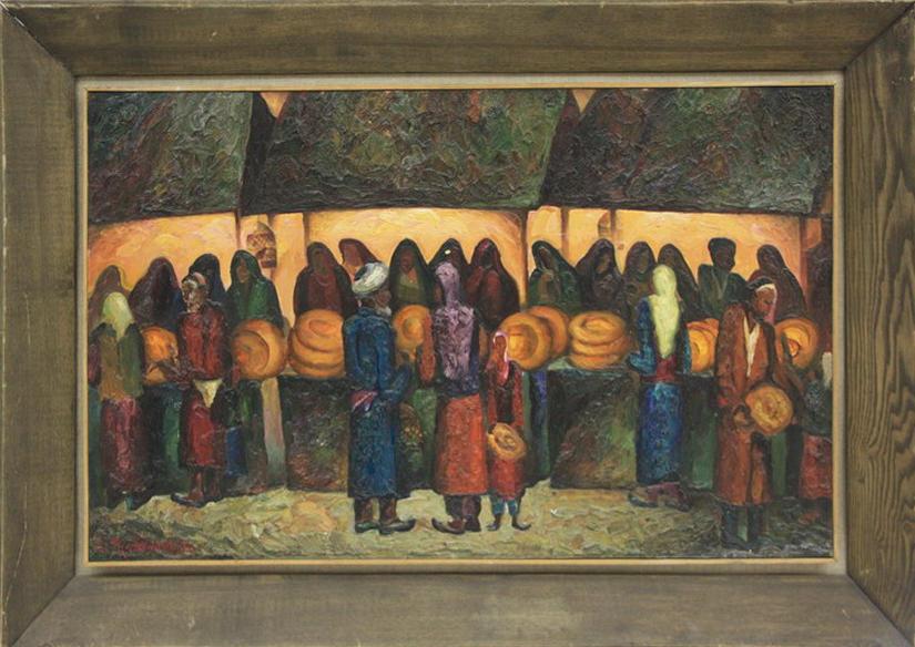 Талдыкин Ю. Лепёшечный базар в Самарканде. 1982 (ДХВ)