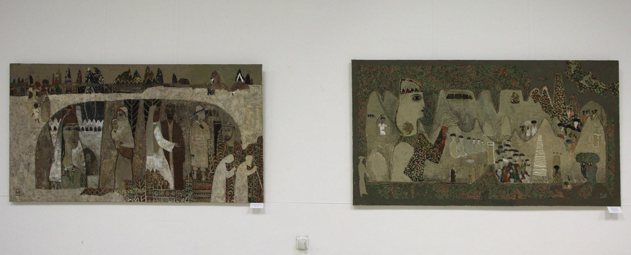 Файзулла Ахмадалиев. Экспозиция картин. Стена. 2009, Однажды в Хиве. 2017