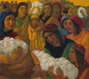 А.Н. Волков. Сбор хлопка. 1931. Холст, масло. 127 x 141,5. (ГТГ, Москва, Россия)