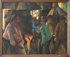 Волков А.Н. Литьё на Сельмашзаводе. 1933 (ГМИ Уз)