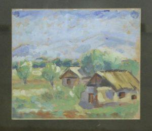 Волков А.Н. Пейзаж с двумя домиками. (ГМИ Уз)
