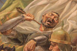 Алишер Аликулов. Битва за знамя. 1996. фрагмент. Коллекция Академии ВС РУз (1)