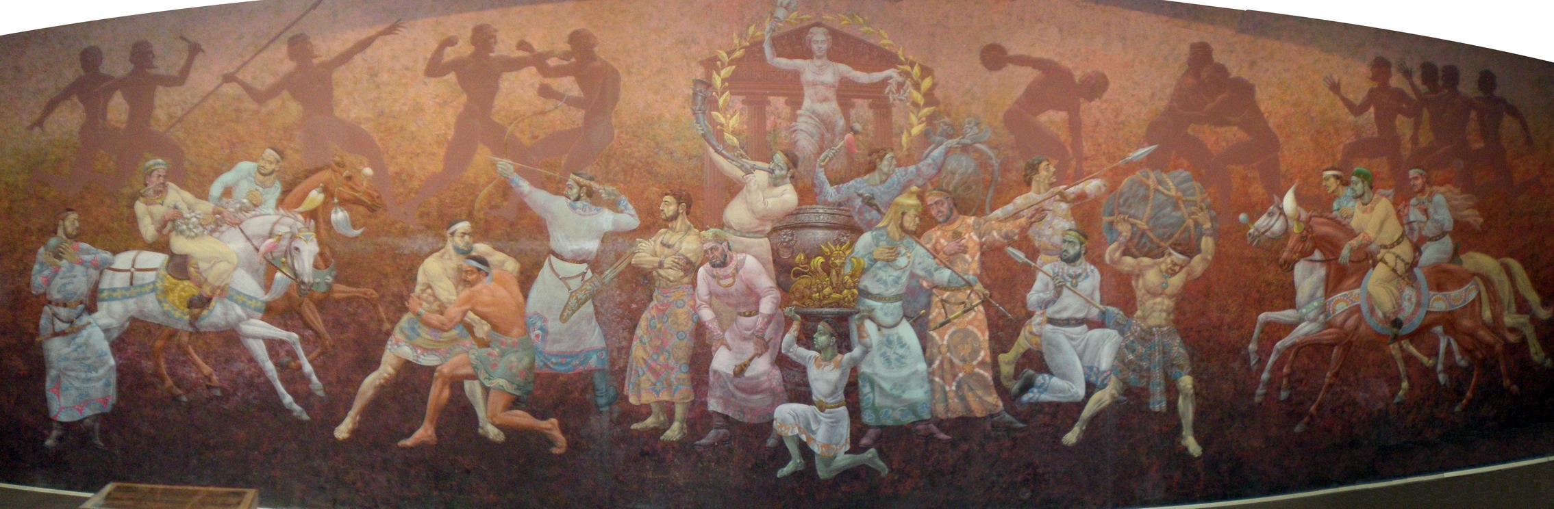 «Спортивные игры Древней Бактрии». Панно в Музее Олимпийской Славы. Ташкент