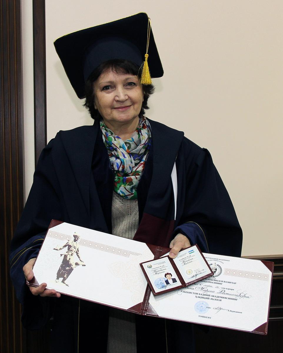 """Toshkent Arxitektura-Qurilish Instituti professori Borodina Marina Rostislavovna """"Do'stlik"""" ordeni bilan taqdirlandi."""