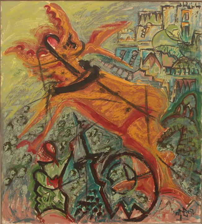 Зелимхан Саиджанов. Композиция с ослом. 1992