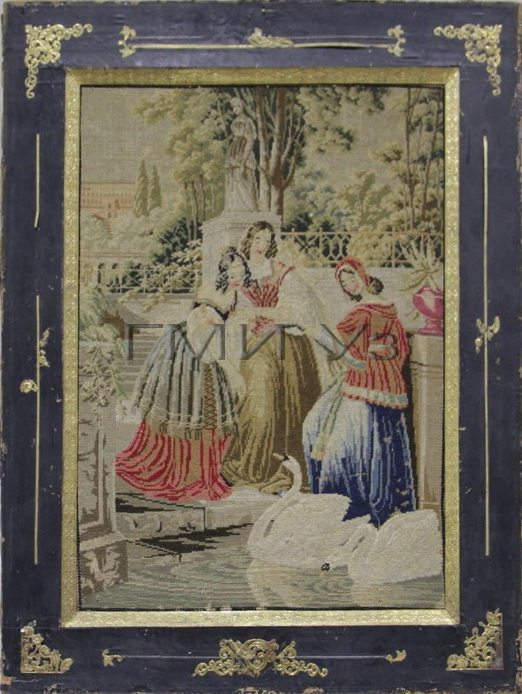 ГМИ Уз. Неизвестный мастер. Вышивка. «Три женщины у пруда с лебедями».