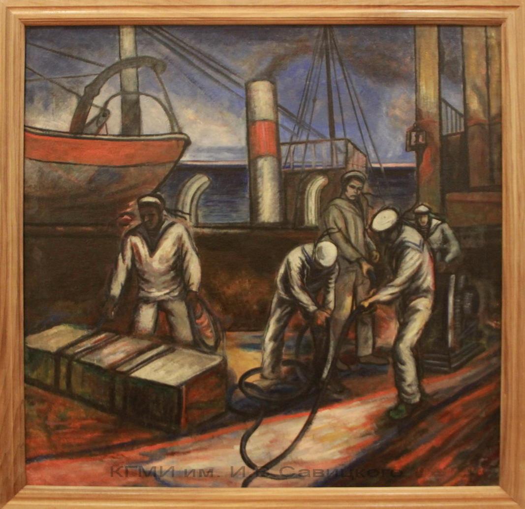 Голополосов Б.А. (1900-1983). Уборка палубы. 1-я половина 20-го века.