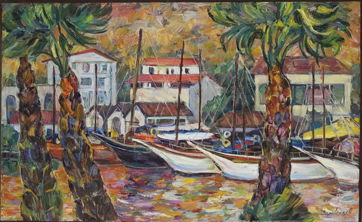 Оксана Залевская. Пейзаж с яхтами и пальмами.