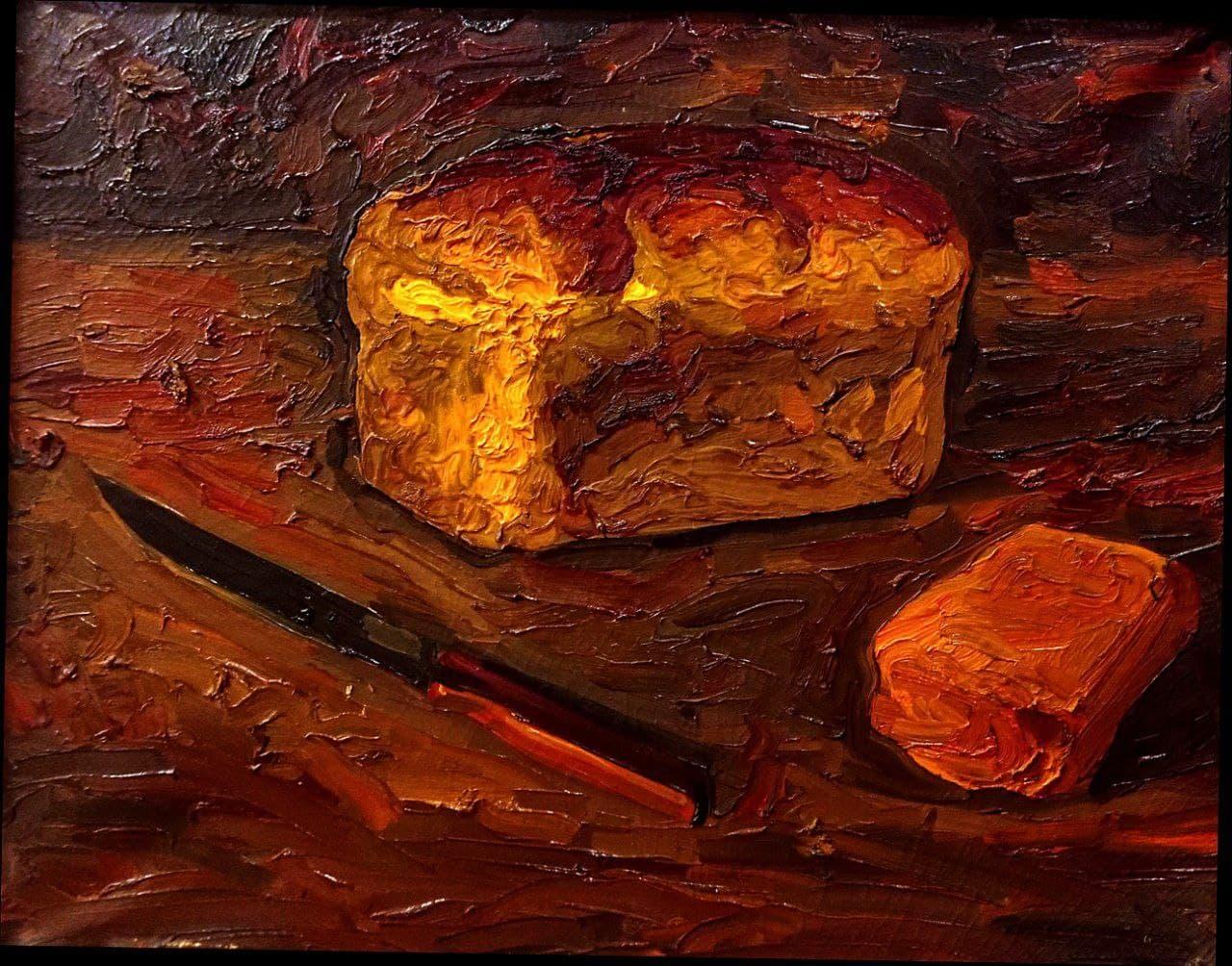 Эркин Жолдасов. Натюрморт с булкой хлеба и ножом