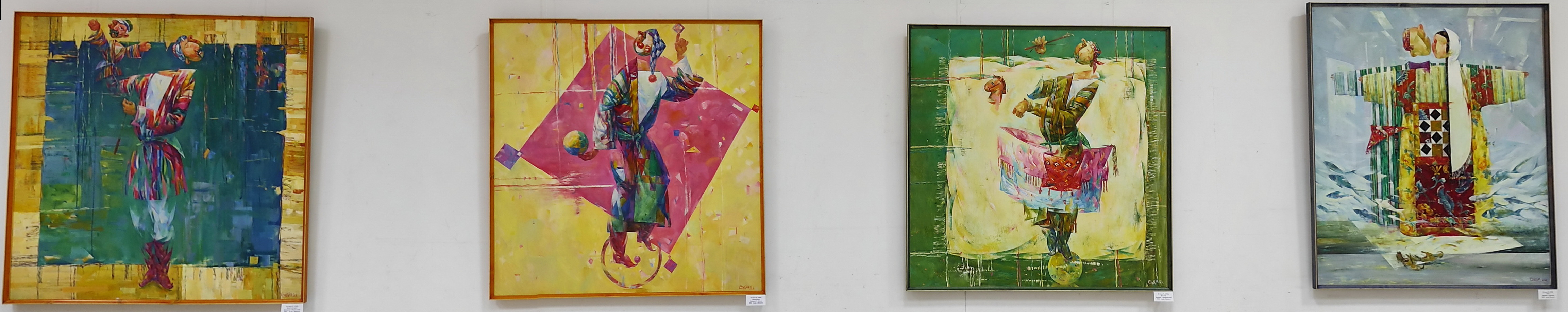 Эркин Джураев. Экспозиция картин. Кукольник, Клоун, Конные игры. 2021