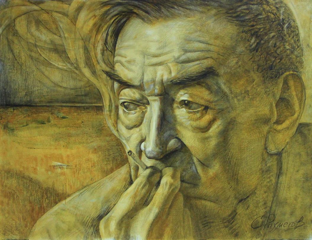Сабир Рахметоа. Портрет Народного художника, Академика Р.Ахмедова. 2021